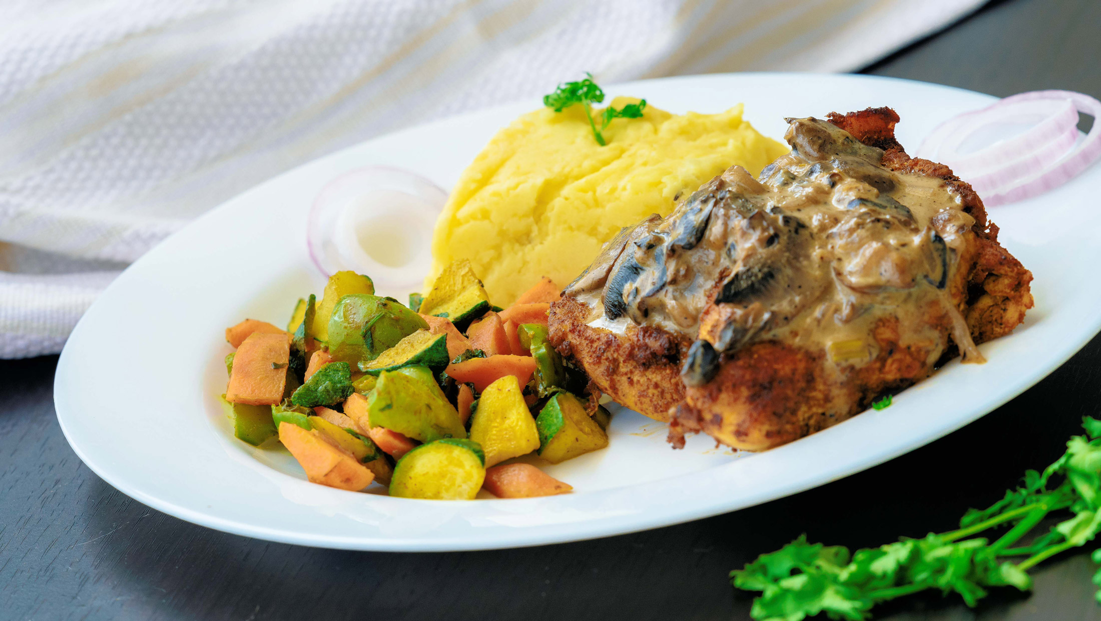 Pan Fried fish with Mashed potatoes and garden vegitables